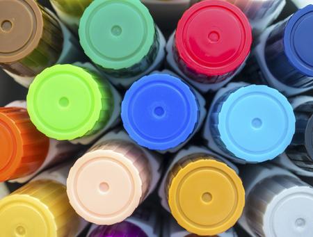 art supplies: Tube of paint . Art supplies set color . Stock Photo
