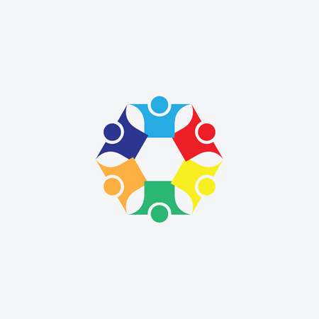 six people: six people icon. people friends logo concept vector icon. this icon also represents friendship, partnership cooperation unity, Illustration