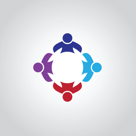 four friends: four people icon. people friends logo concept vector icon. this icon also represents friendship, partnership cooperation unity, Illustration