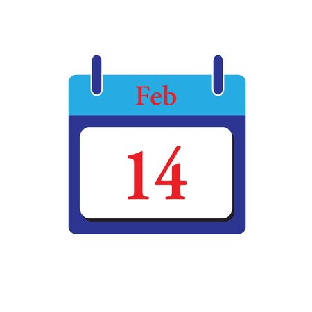 14 february: calendar icon.Calendar on white background. 14 February. Illustration
