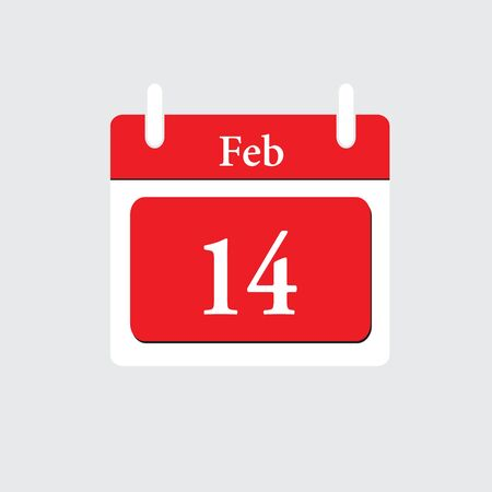 14 of february: calendar icon.Calendar on white background. 14 February. Illustration