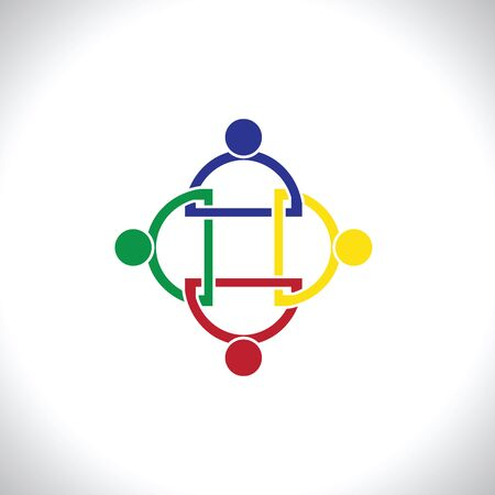 four friends: four  people icon. people friends logo concept vector icon.