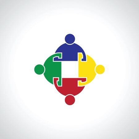 four people: four  people icon. people friends logo concept vector icon.