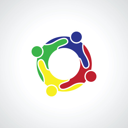 motivated: Motivated colorful people community in circle logo vector illustration.