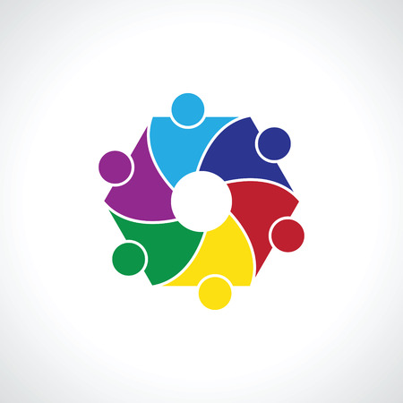 six people: six  people icon. people friends logo concept vector icon.