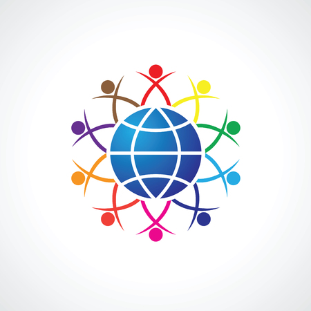 People around the world holding hands. Unity concept illustration