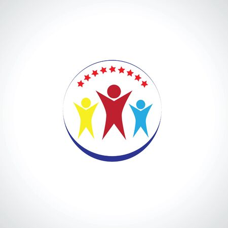 voluntary: Happy family union concept of support voluntary teamwork Illustration