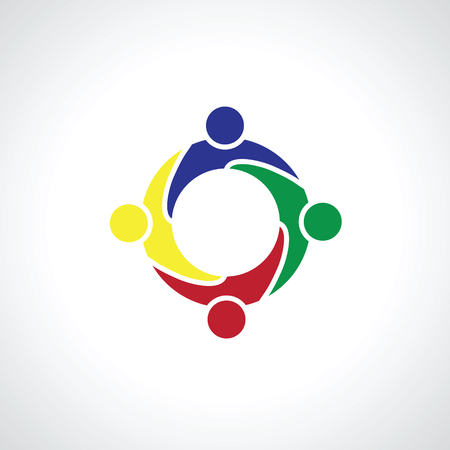four people: four people icon. people friends logo concept vector icon. this icon also represents friendship, partnership cooperation unity, Illustration