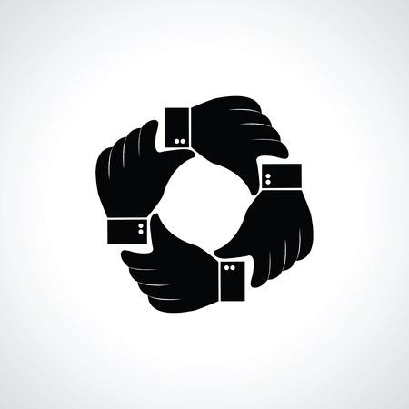 4 つの手のアイコンをベクトルします。