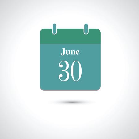 30: june 30. Vector flat daily calendar icon. Illustration