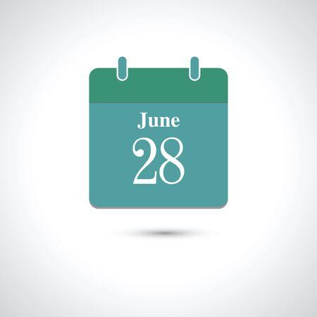28: june 28. Vector flat daily calendar icon. Illustration