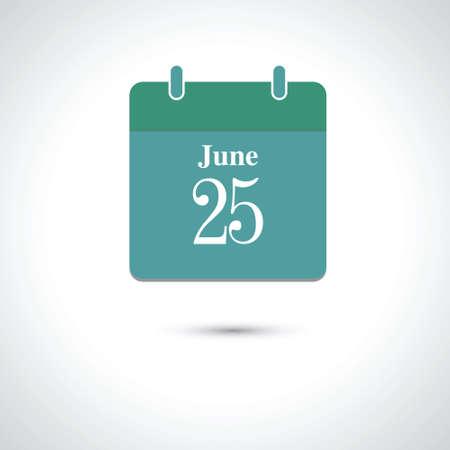 june: june 25. Vector flat daily calendar icon. Illustration