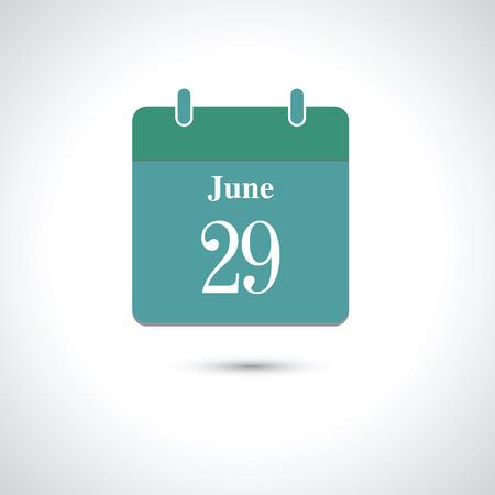 29: june 29. Vector flat daily calendar icon.