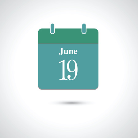 19 years: june 19. Vector flat daily calendar icon.
