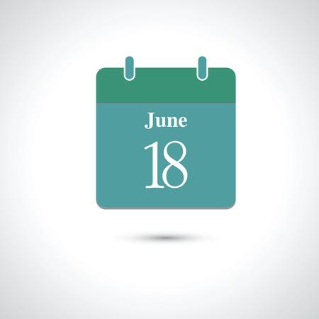 18: june 18. Vector flat daily calendar icon.