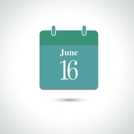 16: june 16. Vector flat daily calendar icon.