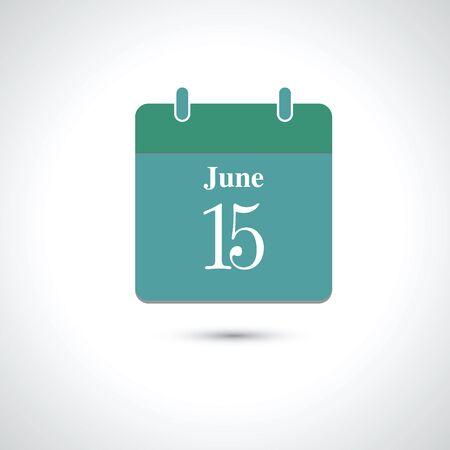 june: june 15. Vector flat daily calendar icon.