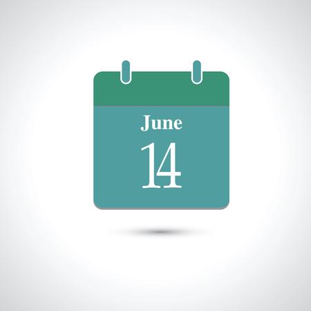 14: june 14. Vector flat daily calendar icon.