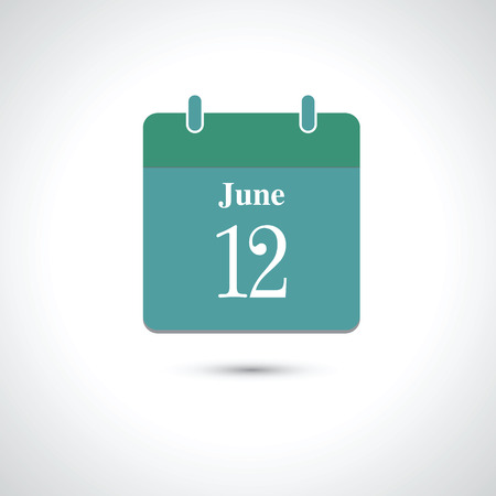a 12: june 12. Vector flat daily calendar icon.