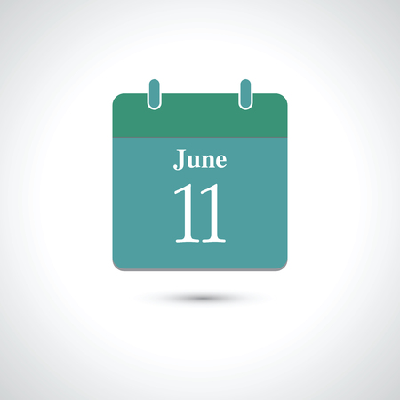 number 11: june 11. Vector flat daily calendar icon.