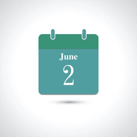 june: june 2. Vector flat daily calendar icon.