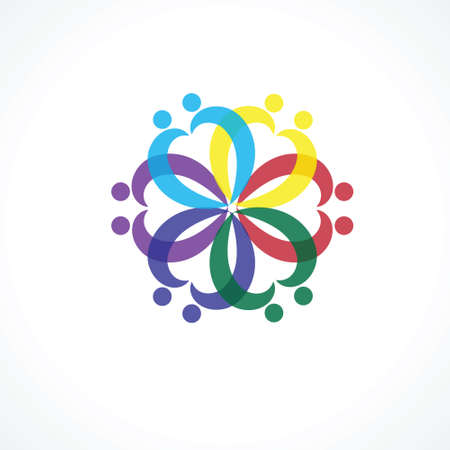 excitement: team & teamwork, social network, community logo vector icon. this icon also represents friendship, partnership cooperation, unity, excitement, happiness Illustration
