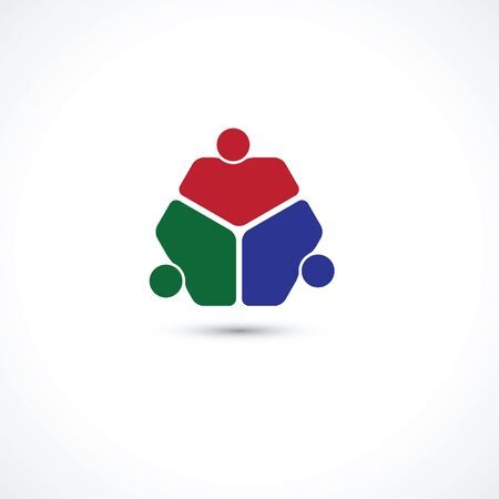 three friends: three people icon. people friends  concept vector icon. this icon also represents friendship, partnership cooperation unity, Illustration