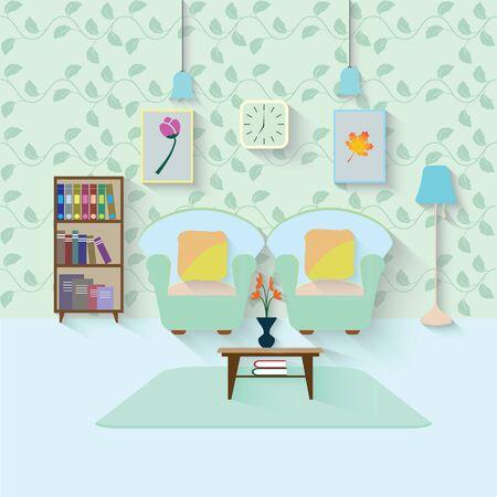 living room design: Interior of a living room. Modern flat design illustration