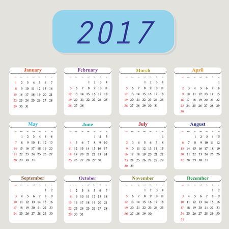 cronologia: Calendar Planner for 2017 Year. Vector Design Template. Set of 12 Months. Week Starts Monday. Stationery Design