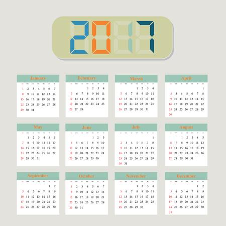 meses del año: Planificador de calendario para 2017 Año. Del diseño del vector. Conjunto de 12 Meses. La semana empieza el lunes. Diseño de papelería
