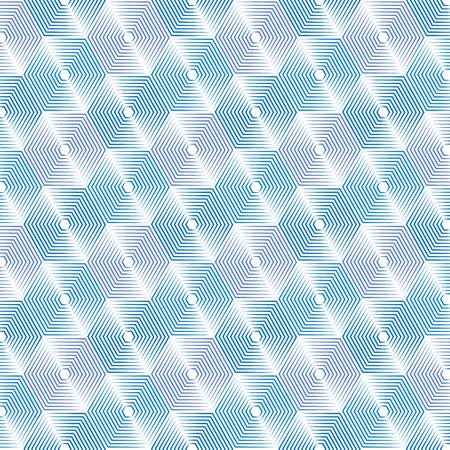 Geometric repeating vector ornament with line hexagons.  abstract modern gray and white pattern