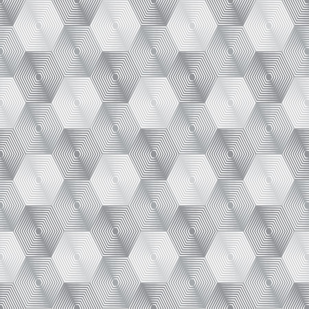 revise: Geometric repeating vector ornament with line hexagons. Seamless abstract modern gray and white pattern