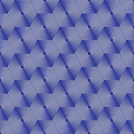 antecedents: Geometric repeating vector ornament with line hexagons. Seamless abstract modern blue and white pattern
