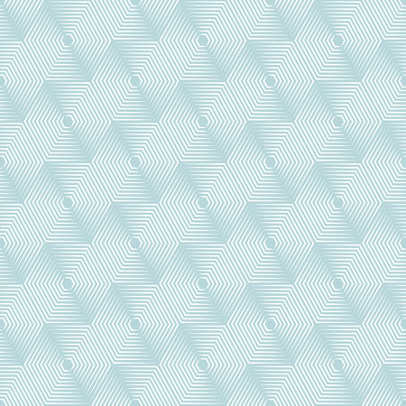 Geometric repeating vector ornament with line hexagons. Seamless abstract modern green and white pattern