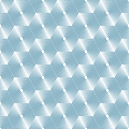 emphasized: Geometric repeating vector ornament with line hexagons. Seamless abstract modern blue and white pattern