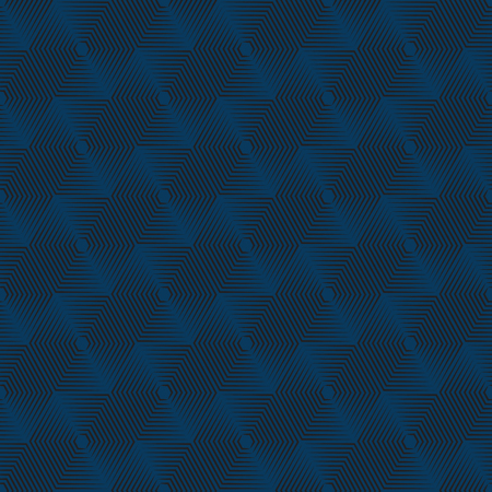 emphasized: Geometric repeating vector ornament with line hexagons. Seamless abstract modern blue and black pattern