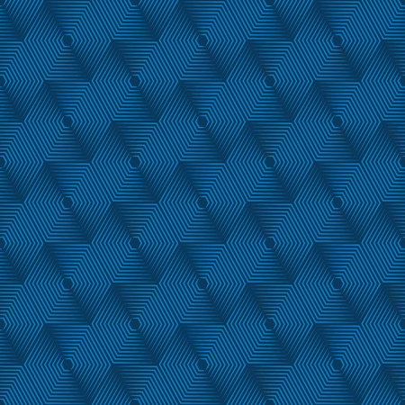 emphasized: Geometric repeating vector ornament with line hexagons. Seamless abstract modern blue  pattern
