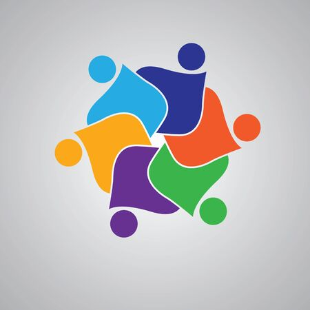 teaming up: Teamwork Embrace 6 Group of People.Concept of commitment,teaming up, united. Illustration