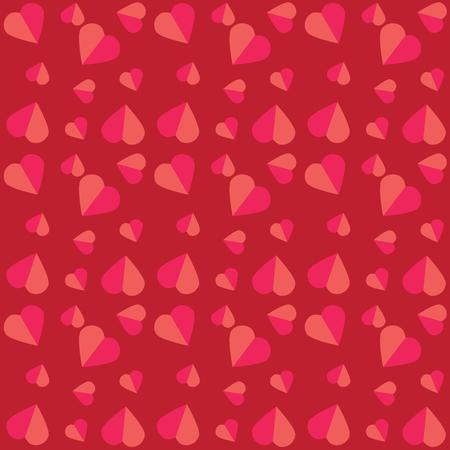 心でカラフルなパターン。バレンタインデーの挨拶カード、ギフト ペーパーの背景。ベクトルの図。