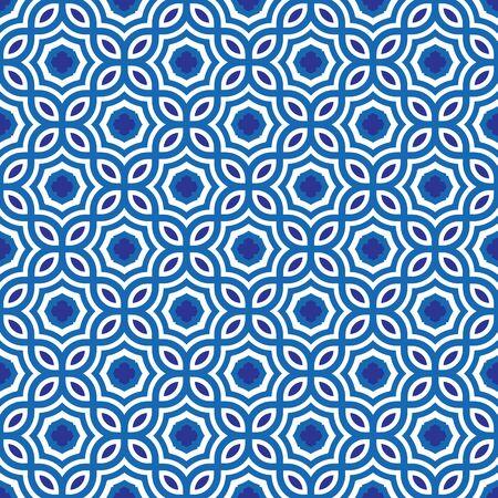 青と白の幾何学模様の抽象的なベクトルの背景。スタイリッシュでモダンな生地です。
