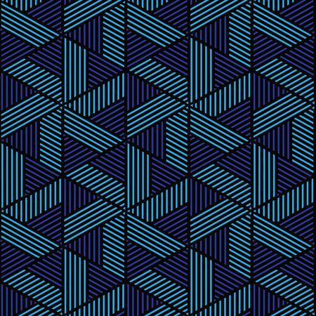 黒と青の幾何学的なパターンの抽象的なベクトルの背景。スタイリッシュでモダンな生地です。 写真素材 - 90749725