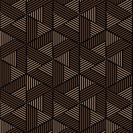 黒と茶色の幾何学模様の抽象的なベクトルの背景。スタイリッシュでモダンな生地です。  イラスト・ベクター素材