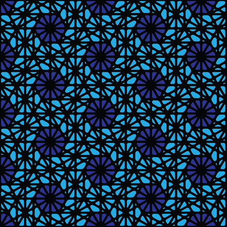 Blue and black geometric pattern abstract vector background. Modern stylish texture.  イラスト・ベクター素材