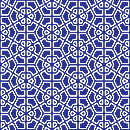 Blue and white geometric pattern abstract vector background. Modern stylish texture.  イラスト・ベクター素材