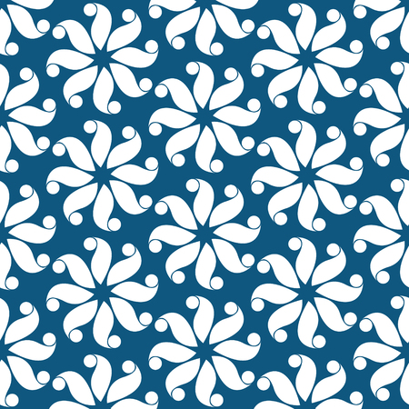 Blue and white flower pattern abstract vector background. Modern stylish texture.  イラスト・ベクター素材