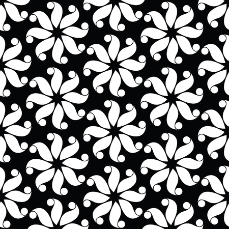 Black and white flower pattern abstract vector background. Modern stylish texture.
