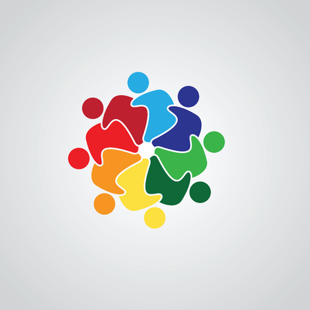 Teamwork Meeting 8. Abstract concept of a social network, friends, community, group of people, Corporate life, Business deal,  イラスト・ベクター素材