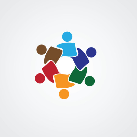 Teamwork Meeting 6. Abstract concept of a social network, friends, community, group of people, Corporate life, Business deal,  イラスト・ベクター素材