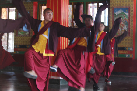 annually: Monks Cham dance practice