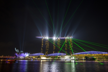 laser lights: Marina bay sands with dancing laser lights